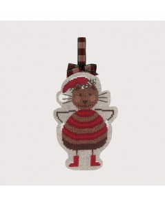 Decoration to cross stitch. Christmas cat. Embroidery kit n° 2737