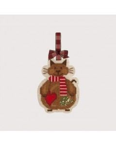 Christmas Cat with a Scarf and a heart. Counted cross stitch kit on an evenweave linen. Le Bonheur des Dames 2738