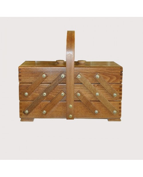 Sewing box brown wood (large)