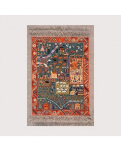 Miniature carpet to stitch by petit point, tent stitch. Motive: Azeri. Le Bonheur des Dames 3601