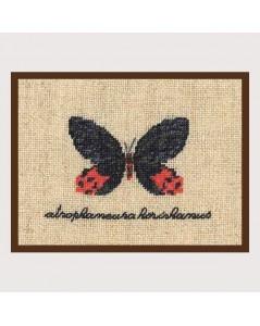 Black and red butterfly miniature