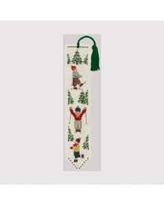 Bookmark to stitch by cross stitch. Motive: three children skiers. Le Bonheur des Dames 4530