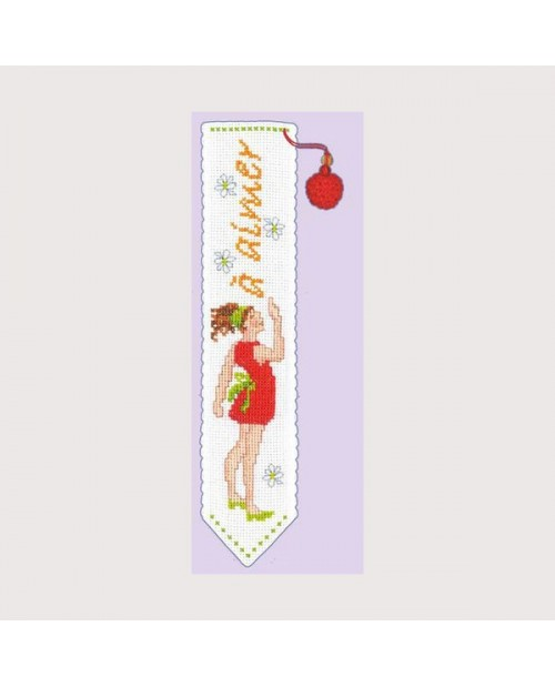 Bookmark with young girl in red dress and  word line à lire to read. Le Bonheur des Dames 4552