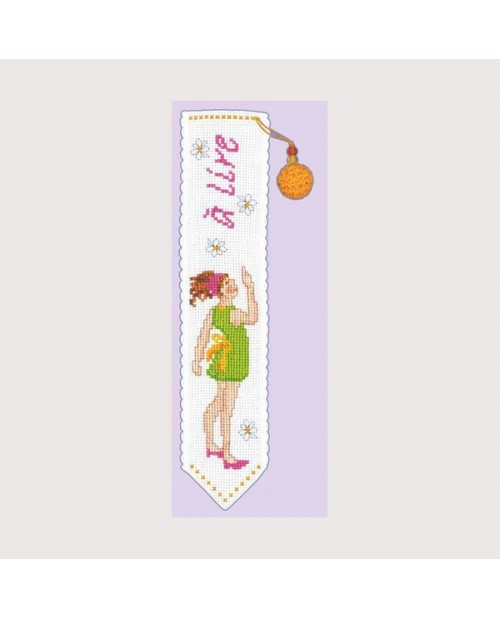 "Bookmark with young girl in green dress and  word line ""à lire"" - ""to read"". Le Bonheur des Dames 4553"