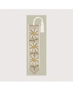 Bookmark with edelweiss flowers. Counted cross stitch embroidery kit. Le Bonheur des Dames. 4558