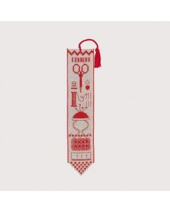 Bookmark to cross stitch on a natural linen band with red thread. Motive: sewing accessories. 4563 Le Bonheur des Dames