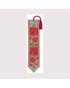 Bookmark Red Roses to stitch by cross stitch on natural linen band with red hem. Le Bonheur des Dames 4566