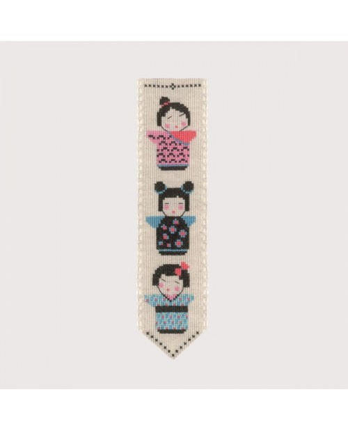Bookmark Kokeshi. Counted cross stitch embroidery kit. Le Bonheur des Dames 4580
