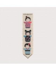 Marque-page Kokeshi à broder au point de croix, point compté. Le Bonheur des Dames 4580