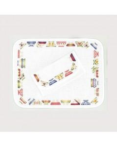 Place mat and pochette for napkins. White cotton Aida. Motive to embroider by cross stitch: bowls. Le Bonheur des Dames 5043