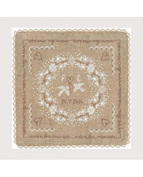 Wedding cushion made of linen Aida with white flowers and doves. Counted cross stitch kit. Le Bonheur des Dames 5045