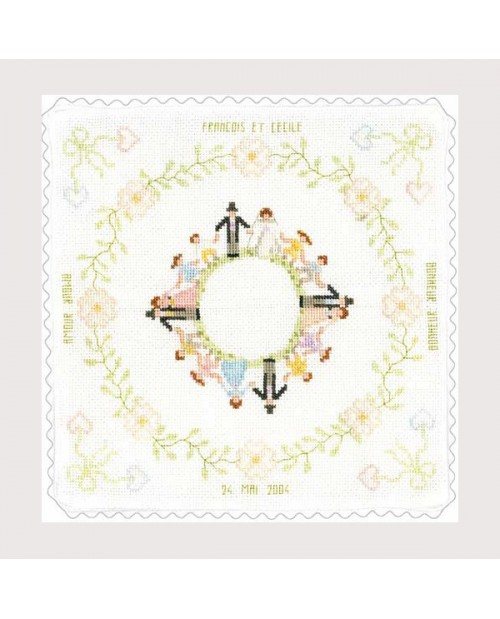 Wedding cushion made of white cotton Aida fabric. Cross stitch to embroider. Le Bonheur des Dames 5046