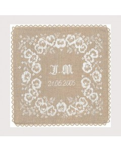 Wedding cushion made of linen Aida  stitched with white threads. Le Bonheur des Dames 5049
