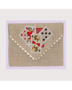 Linen envelope like pochette to embroider by cross stitch. Motive: game cards. Le Bonheur des Dames 5064.