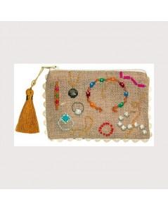 Linen Aida pochette to stitch by cross stitch. Motive: jewelry. Le Bonheur des Dames 5079