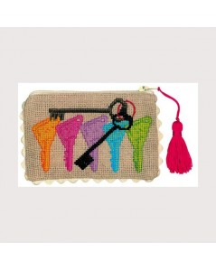 Linen Aida pochette to embroider by counted cross stitch. Motive: coloured keys.
