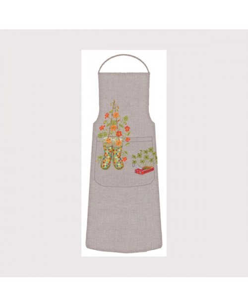 Apron Garden. Motive garden boots and flowers. Counted cross stitch kit. Le Bonheur des Dames. 5087