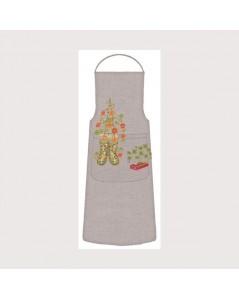Tablier Jardin. Motif: bottes de jardinier, fleurs. Le Bonheur des Dames kit broderie point de croix. 5087