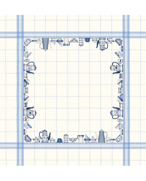 White linen tablecloth with blue dishes motive