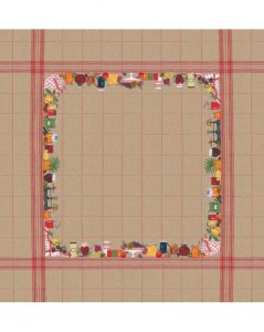 Tablecloth with jams and fruits on natural linen with red check. Le Bonheur des Dames.