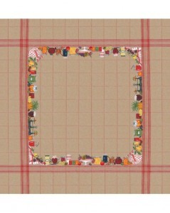 Tablecloth with jams and fruits on natural linen