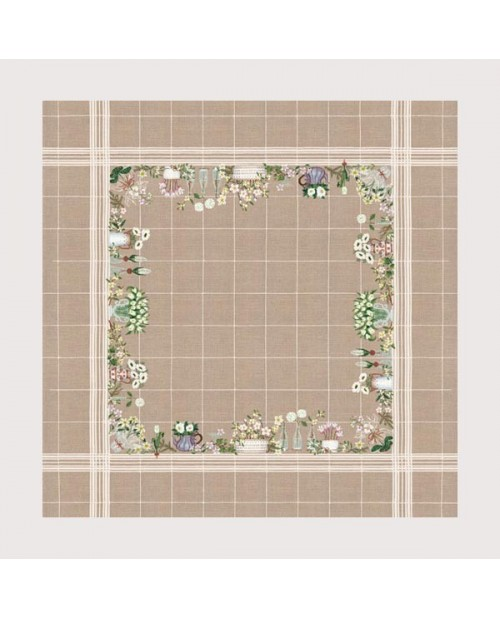 Tablecloth with white flowers on natural linen. Counted cross stitch embroidery kit. Le Bonheur des Dames.