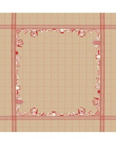 Tablecloth with red dishes motive on natural linen