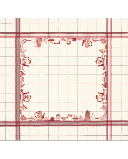 Tablecloth with red dishes motive on white linen
