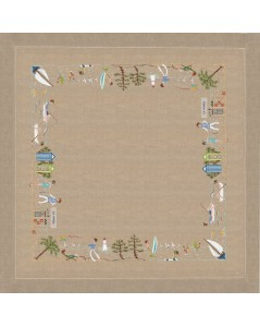 Natural linen tablecloth with seaside motive