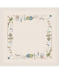 White linen tablecloth with seaside motive