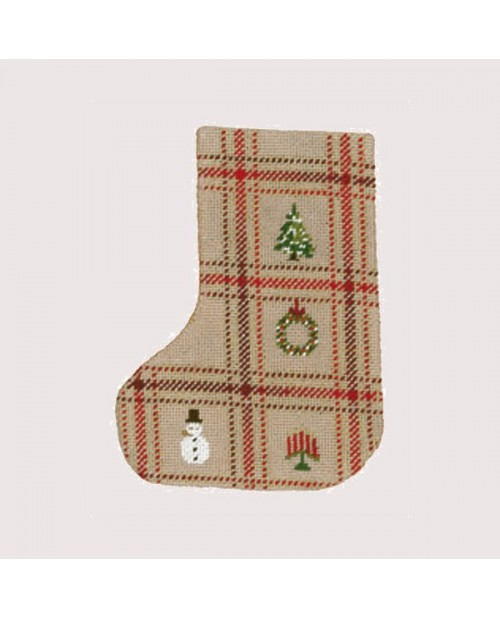 Tartan Christmas boot. Stocking to stitch and to sew. Counted cross stitch. Le Bonheur des Dames 7042