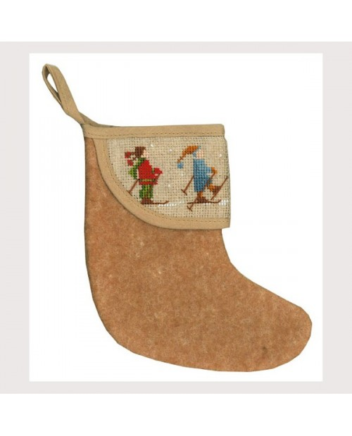 Christmas stocking with skiers border