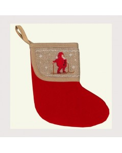 Christmas stocking with Santa Claus border