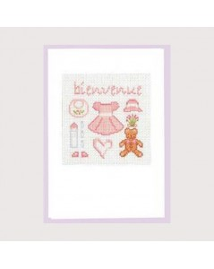 Welcome card in pink
