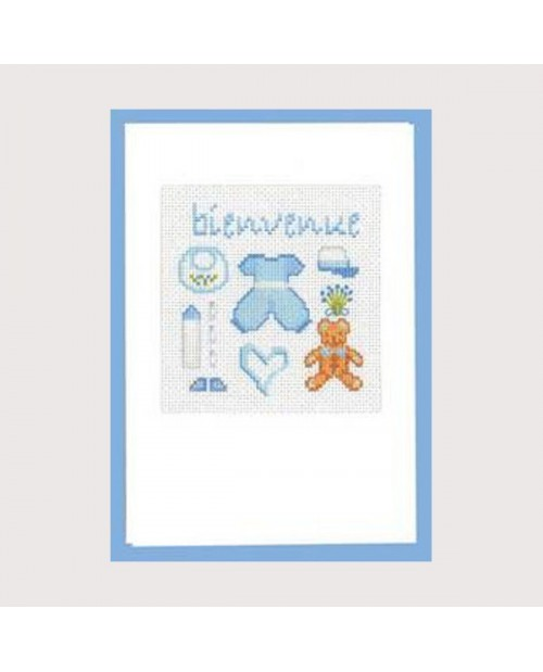 Welcome card in blue