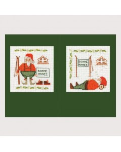 2 greeting cards Santa Claus with ski. Embroidery, counted cross stitch kit.