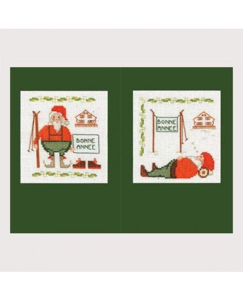 Deux cartes de vœux  avec Père Noël et ski à broder au point de croix