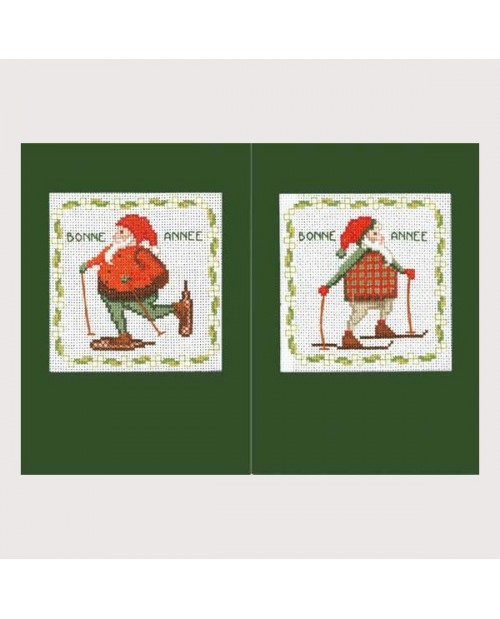 Deux cartes à broder au point de croix avec Père Noël avec les skis et avec les raquettes. Kit 7524. Le Bonheur des Dames