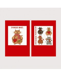 Cats Merry Christmas. Two greeting cards to cross stitch with passe-partout and envelops. Item n° 7527