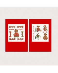 2 greeting cards Happy New Year Dogs to stitch