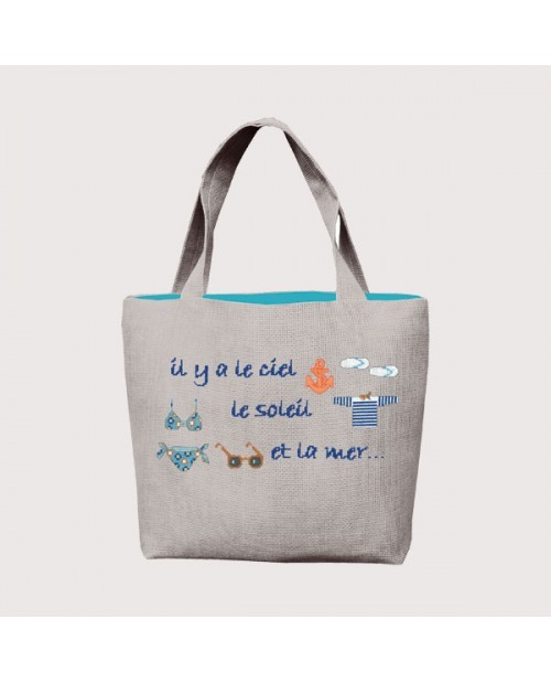 Beach Bag to sew and to embroider. Sea motive. Le Bonheur des Dames. 8017