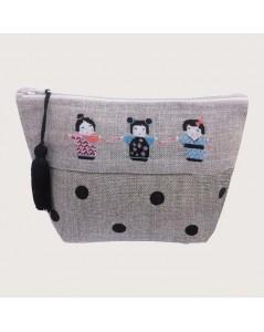 Pochette en lin à broder au petit point. Motif: poupées japonaises Kokeshis. Le Bonheur des Dames. 9011