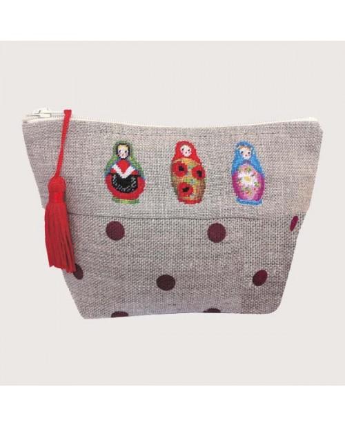 Linen pochette to stitch by petit point. Motive: Russian dolls, matriochkas. Le Bonheur des Dames 9014