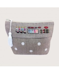 Linen pochette to embroider by petit point. Motive: makeup accessories. 9015