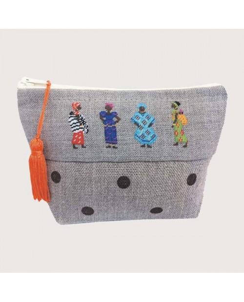 Linen pochette to stitch by petit point with four African women. Le Bonheur des Dames. 9016