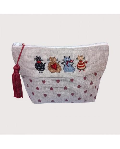 Pochette with four cats to embroider by petit point. Le Bonheur des Dames. 9020