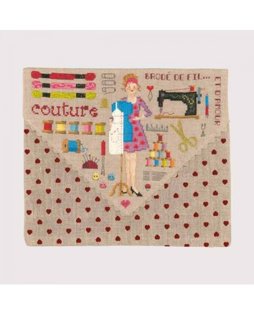 Embroidery kit Pochette Couture. Pochette to cross stitch with red heart print
