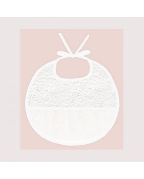 Bavoir en éponge avec une bande en Aida de coton 7 pts/cm, à broder, bord blanc. BAV10 Le Bonheur des Dames