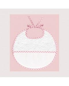 Bavoir en éponge avec une bande en Aida de coton 7 pts/cm, à broder, bord vichy rose. BAV11 Le Bonheur des Dames