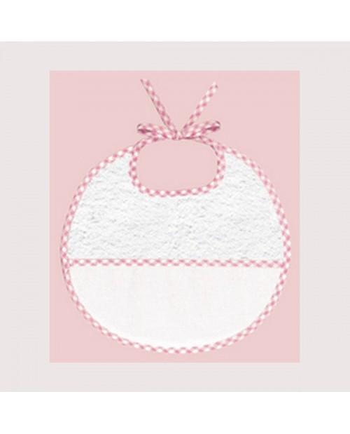Pink gingham terry bib